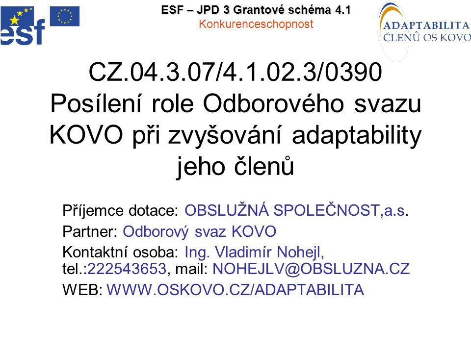 CZ.04.3.07/4.1.02.3/0390 Posílení role Odborového svazu KOVO při zvyšování adaptability jeho členů Příjemce dotace: OBSLUŽNÁ SPOLEČNOST,a.s.