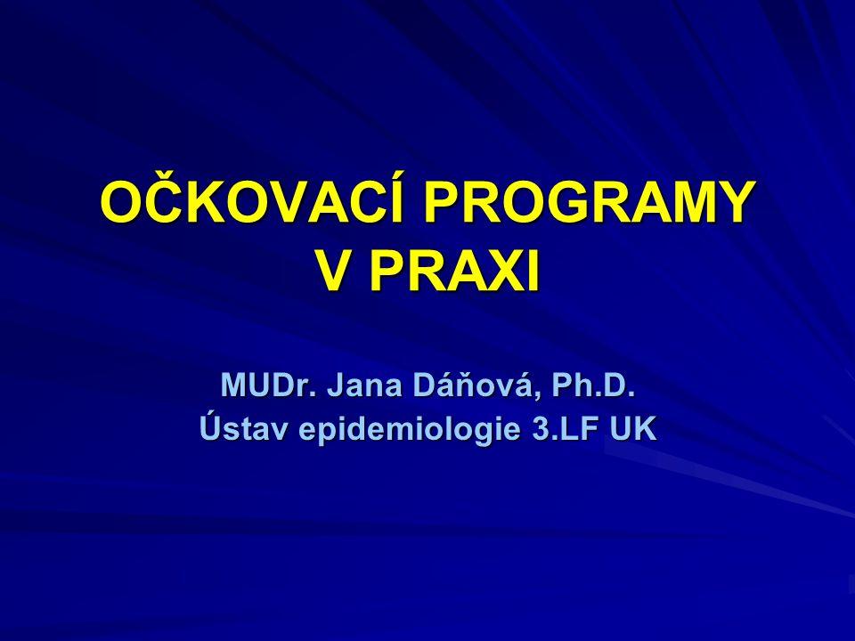 OČKOVACÍ PROGRAMY V PRAXI MUDr. Jana Dáňová, Ph.D. Ústav epidemiologie 3.LF UK