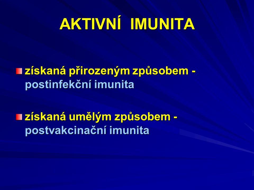 AKTIVNÍ IMUNITA získaná přirozeným způsobem - postinfekční imunita získaná umělým způsobem - postvakcinační imunita