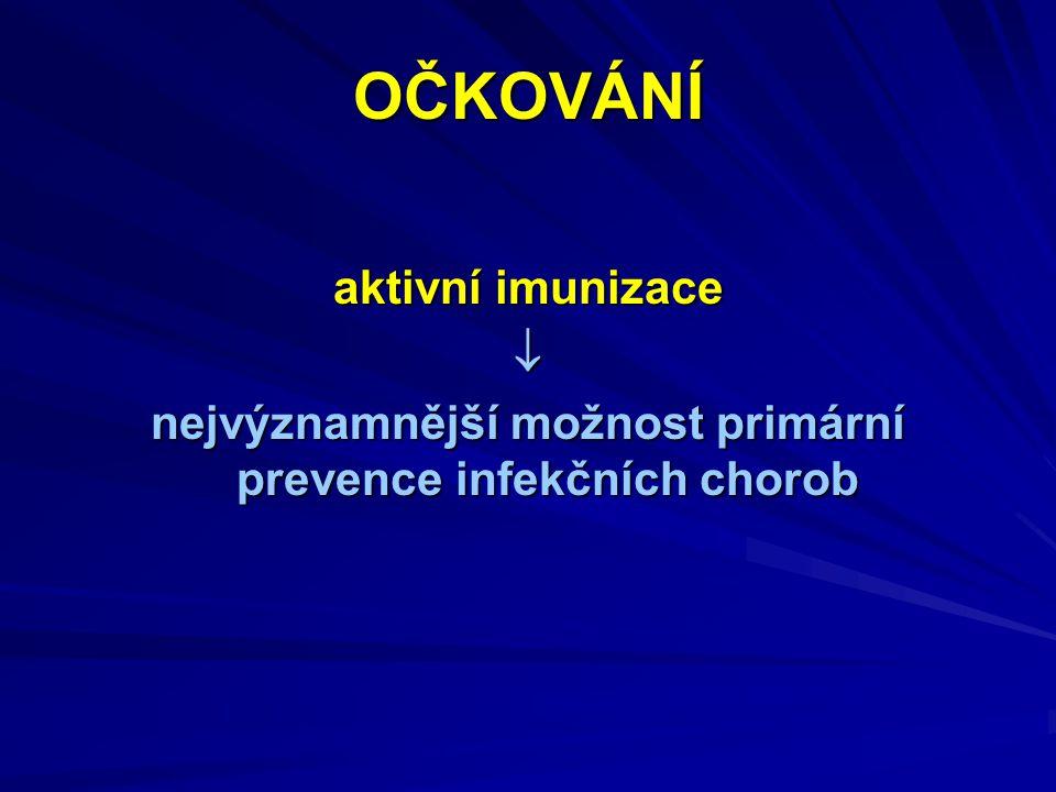 OČKOVÁNÍ aktivní imunizace  nejvýznamnější možnost primární prevence infekčních chorob