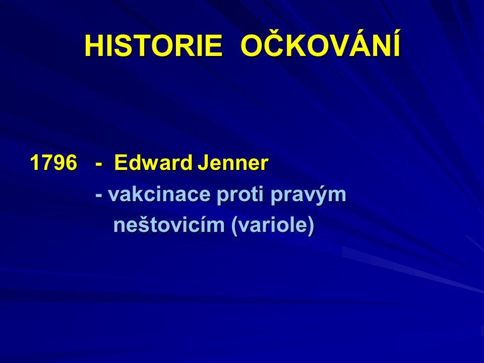HISTORIE OČKOVÁNÍ 1796 - Edward Jenner - vakcinace proti pravým - vakcinace proti pravým neštovicím (variole) neštovicím (variole)