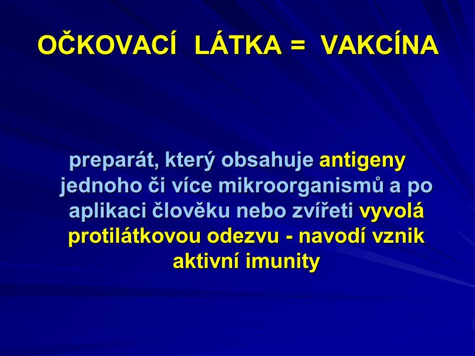 OČKOVACÍ LÁTKA = VAKCÍNA preparát, který obsahuje antigeny jednoho či více mikroorganismů a po aplikaci člověku nebo zvířeti vyvolá protilátkovou odezvu - navodí vznik aktivní imunity