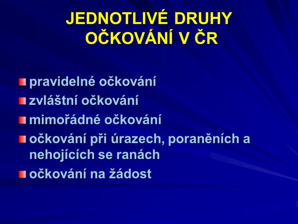 JEDNOTLIVÉ DRUHY OČKOVÁNÍ V ČR pravidelné očkování zvláštní očkování mimořádné očkování očkování při úrazech, poraněních a nehojících se ranách očkování na žádost