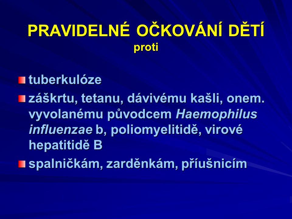 PRAVIDELNÉ OČKOVÁNÍ DĚTÍ proti tuberkulóze záškrtu, tetanu, dávivému kašli, onem. vyvolanému původcem Haemophilus influenzae b, poliomyelitidě, virové