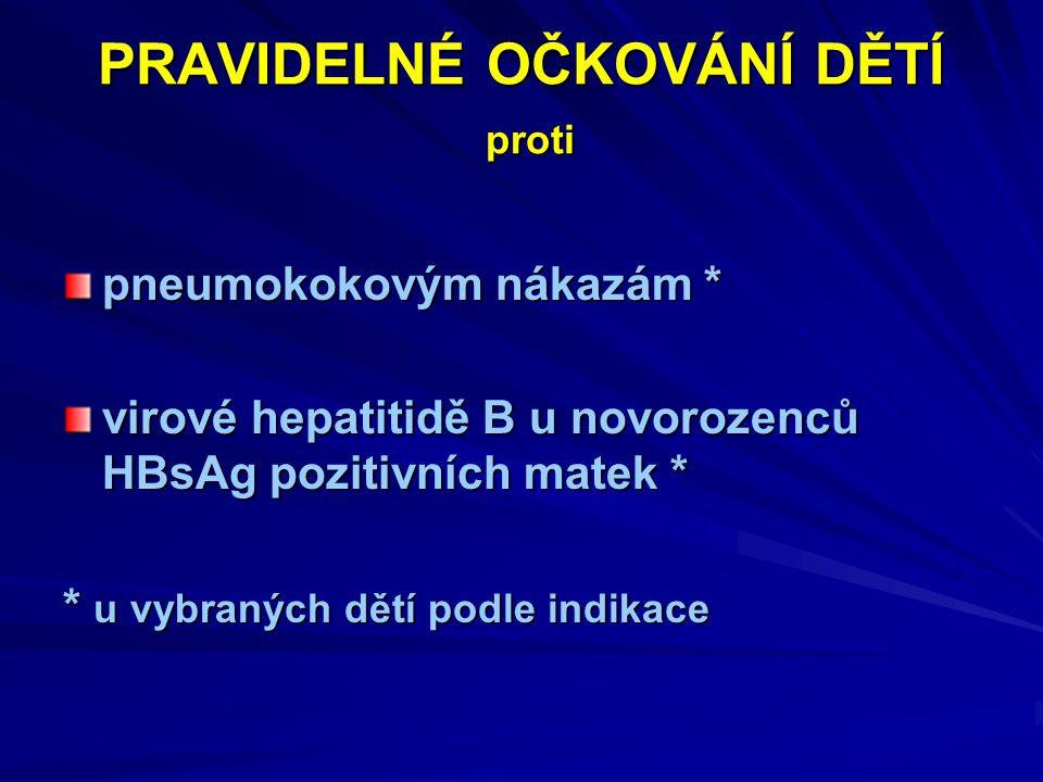 PRAVIDELNÉ OČKOVÁNÍ DĚTÍ proti pneumokokovým nákazám * virové hepatitidě B u novorozenců HBsAg pozitivních matek * * u vybraných dětí podle indikace