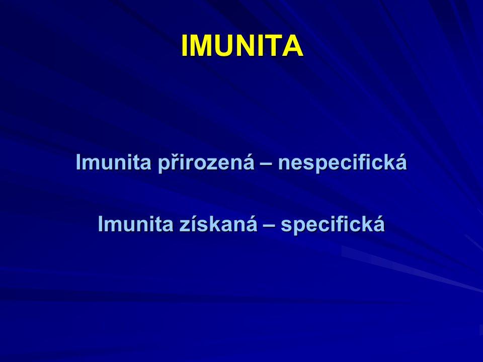 IMUNITA Imunita přirozená – nespecifická Imunita získaná – specifická