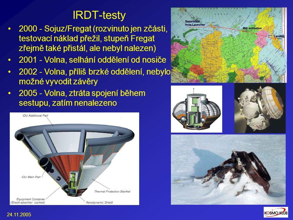 24.11.2005 IRDT-testy 2000 - Sojuz/Fregat (rozvinuto jen zčásti, testovací náklad přežil, stupeň Fregat zřejmě také přistál, ale nebyl nalezen) 2001 - Volna, selhání oddělení od nosiče 2002 - Volna, příliš brzké oddělení, nebylo možné vyvodit závěry 2005 - Volna, ztráta spojení během sestupu, zatím nenalezeno