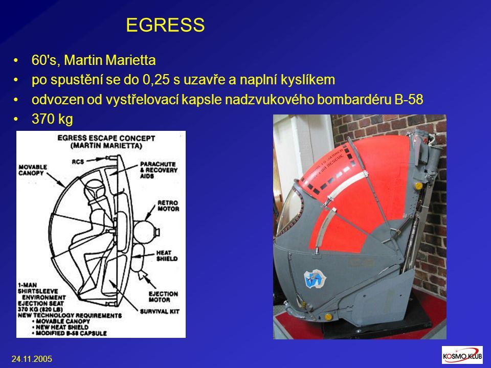 24.11.2005 EGRESS 60 s, Martin Marietta po spustění se do 0,25 s uzavře a naplní kyslíkem odvozen od vystřelovací kapsle nadzvukového bombardéru B-58 370 kg