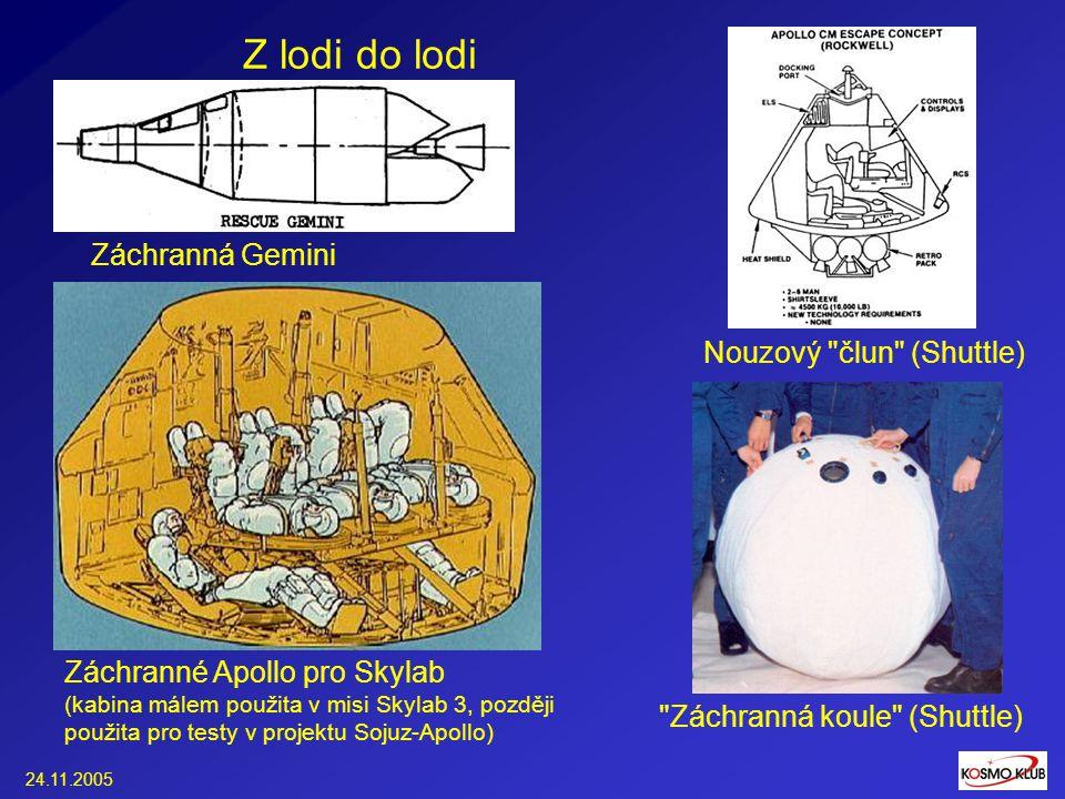 24.11.2005 Z lodi do lodi Záchranné Apollo pro Skylab (kabina málem použita v misi Skylab 3, později použita pro testy v projektu Sojuz-Apollo) Nouzový člun (Shuttle) Záchranná Gemini Záchranná koule (Shuttle)