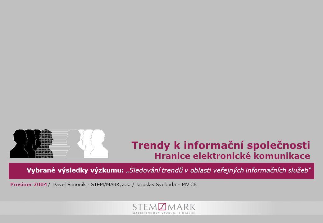 """Vybrané výsledky výzkumu: """"Sledování trendů v oblasti veřejných informačních služeb Trendy k informační společnosti Hranice elektronické komunikace Prosinec 2004 / Pavel Šimoník - STEM/MARK, a.s."""