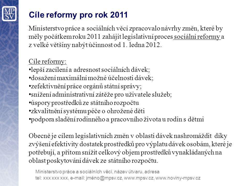 Cíle reformy pro rok 2011 Ministerstvo práce a sociálních věcí zpracovalo návrhy změn, které by měly počátkem roku 2011 zahájit legislativní proces so