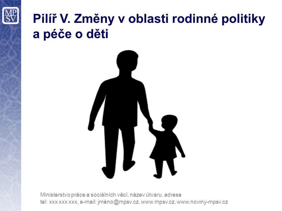 Pilíř V. Změny v oblasti rodinné politiky a péče o děti tel: xxx xxx xxx, e-mail: jméno@mpsv.cz, www.mpsv.cz, www.noviny-mpsv.cz Ministerstvo práce a