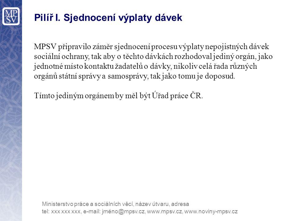 Pilíř I. Sjednocení výplaty dávek MPSV připravilo záměr sjednocení procesu výplaty nepojistných dávek sociální ochrany, tak aby o těchto dávkách rozho