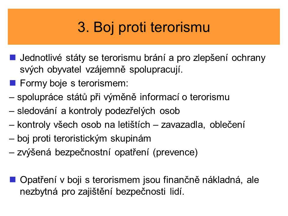 3. Boj proti terorismu Jednotlivé státy se terorismu brání a pro zlepšení ochrany svých obyvatel vzájemně spolupracují. Formy boje s terorismem: – spo