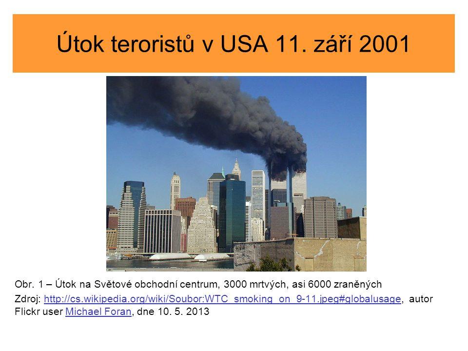 Útok teroristů v USA 11. září 2001 Obr. 1 – Útok na Světové obchodní centrum, 3000 mrtvých, asi 6000 zraněných Zdroj: http://cs.wikipedia.org/wiki/Sou