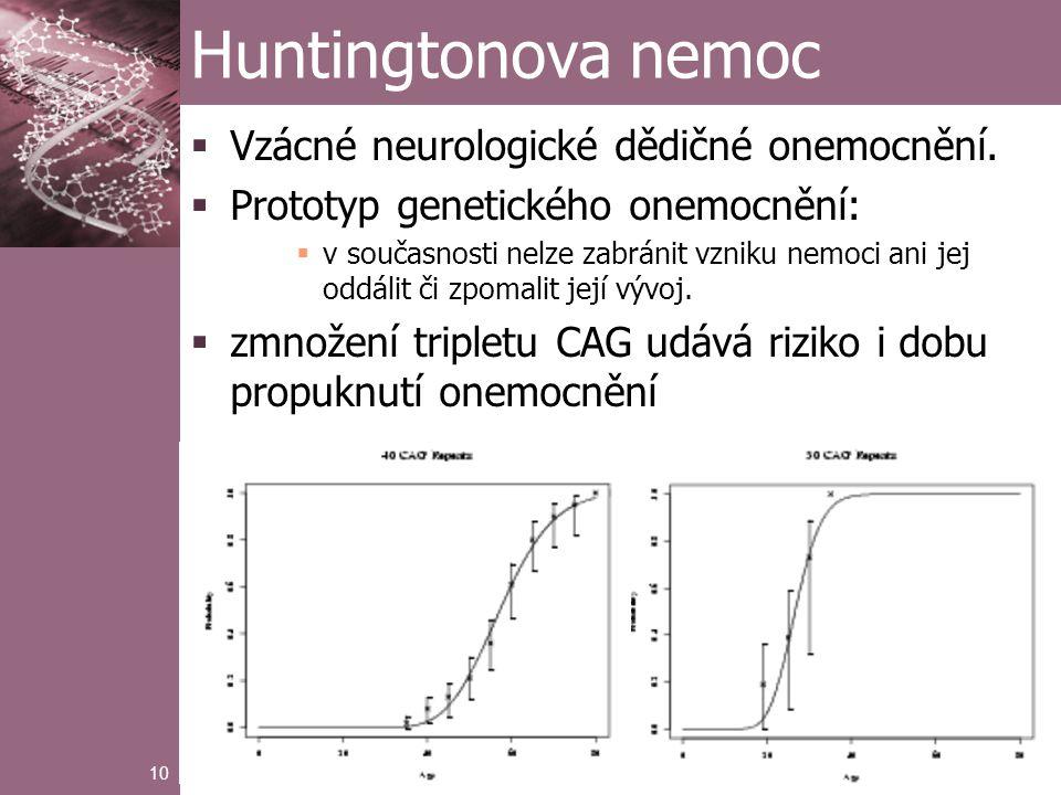 10 Huntingtonova nemoc  Vzácné neurologické dědičné onemocnění.