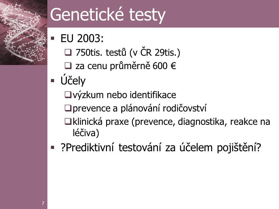 18 Alzheimerova choroba  Pojištění dlouhodobé péče  Aktivity denního života (ADL)  Porucha poznání  Genetická predispozice k AD  gen ApoE, alela ε4  ε4/ ε4 – asi 2% populace, 10-12x vyšší riziko  ε3 /ε4 – asi 20% populace, ženy až 5x vyšší riziko  D.J.Pritchard http://www.ma.hw.ac.uk/~angus/papers/djp_phd.pdf, 2002 http://www.ma.hw.ac.uk/~angus/papers/djp_phd.pdf
