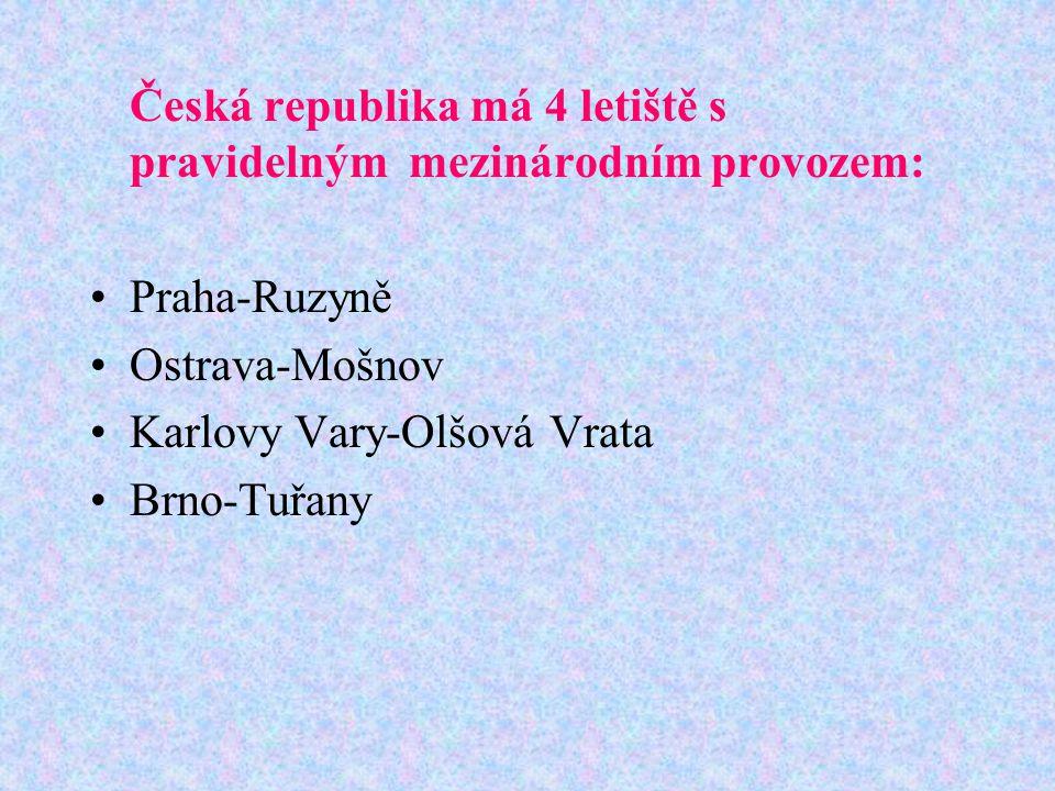 Česká republika má 4 letiště s pravidelným mezinárodním provozem: Praha-Ruzyně Ostrava-Mošnov Karlovy Vary-Olšová Vrata Brno-Tuřany