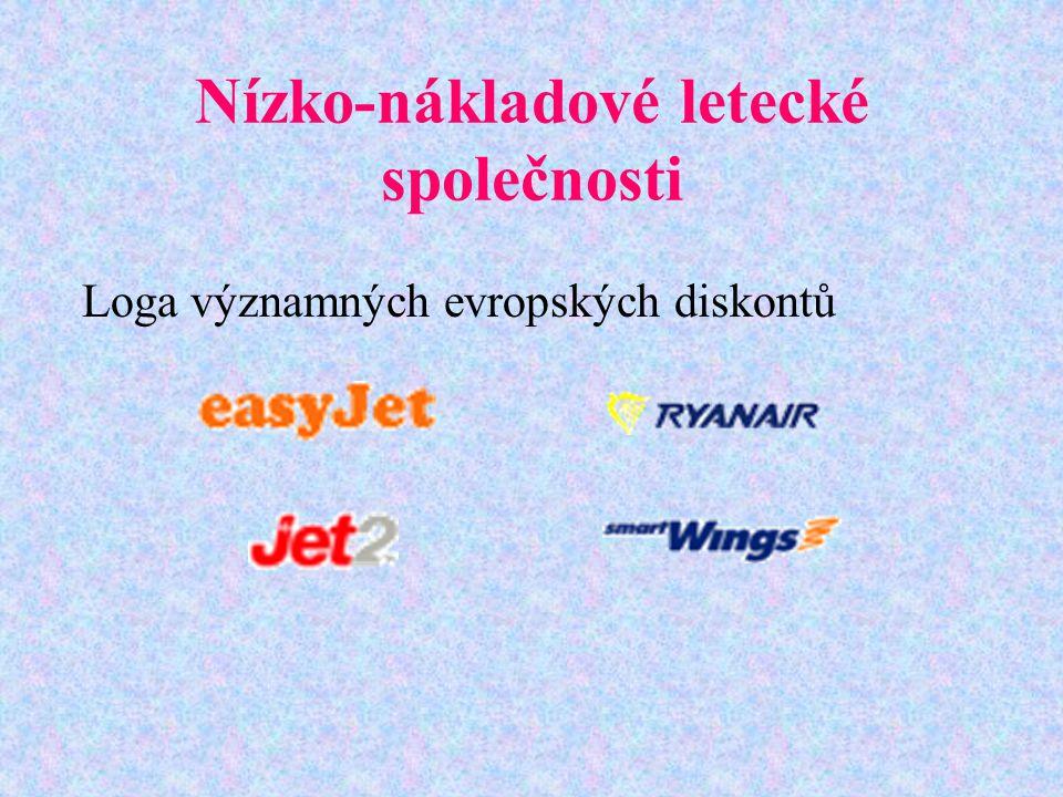 Nízko-nákladové letecké společnosti Loga významných evropských diskontů