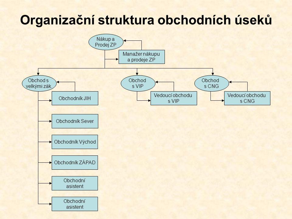 Organizační struktura obchodních úseků Manažer nákupu a prodeje ZP Nákup a Prodej ZP Vedoucí obchodu s VIP Obchod s VIP Vedoucí obchodu s CNG Obchod s CNG Obchodník JIH Obchod s velkými zák.