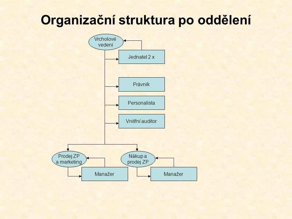 Organizační struktura po oddělení Jednatel 2 x Vrcholové vedení Manažer Nákup a prodej ZP Manažer Prodej ZP a marketing Právník Personalista Vnitřní auditor