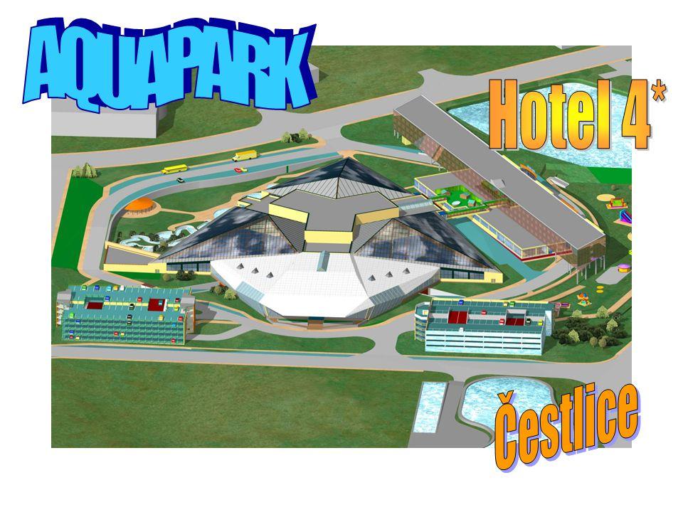 Situace areálu A – Aquapark se vstupní halou B – Hotel 4* C1, C2 – parkovací domy pro osobní automobily