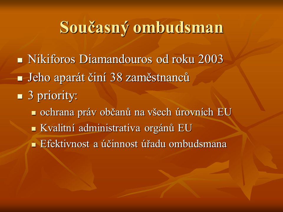 Současný ombudsman Nikiforos Diamandouros od roku 2003 Nikiforos Diamandouros od roku 2003 Jeho aparát činí 38 zaměstnanců Jeho aparát činí 38 zaměstn