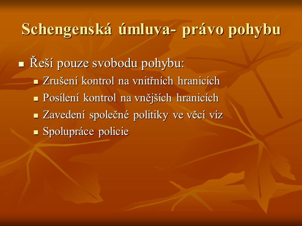 Schengenská úmluva- právo pohybu Řeší pouze svobodu pohybu: Řeší pouze svobodu pohybu: Zrušení kontrol na vnitřních hranicích Zrušení kontrol na vnitř