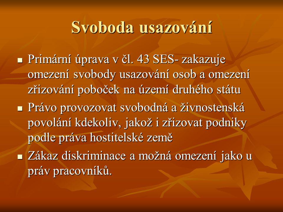 Svoboda usazování Primární úprava v čl. 43 SES- zakazuje omezení svobody usazování osob a omezení zřizování poboček na území druhého státu Primární úp