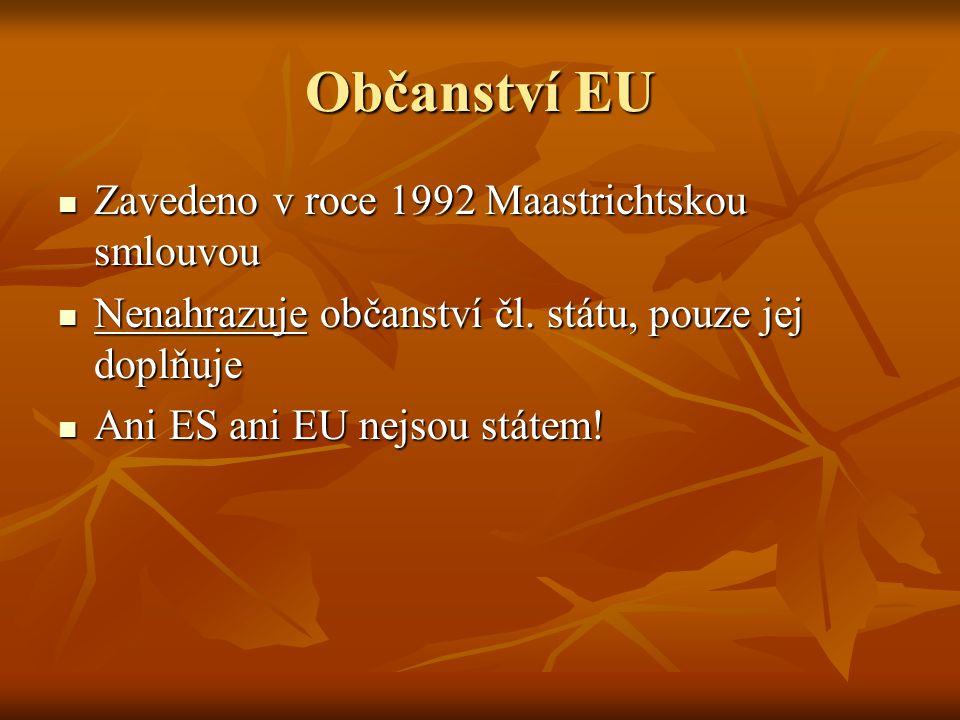 Občanství EU Zavedeno v roce 1992 Maastrichtskou smlouvou Zavedeno v roce 1992 Maastrichtskou smlouvou Nenahrazuje občanství čl. státu, pouze jej dopl