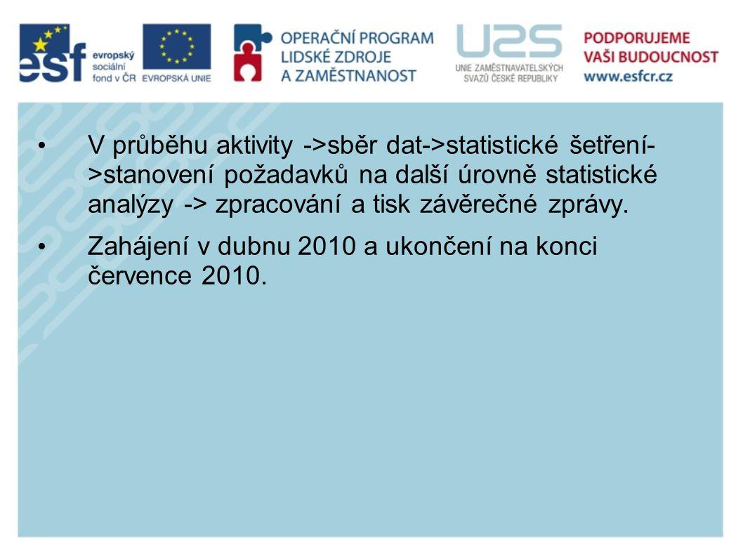 V průběhu aktivity ->sběr dat->statistické šetření- >stanovení požadavků na další úrovně statistické analýzy -> zpracování a tisk závěrečné zprávy.