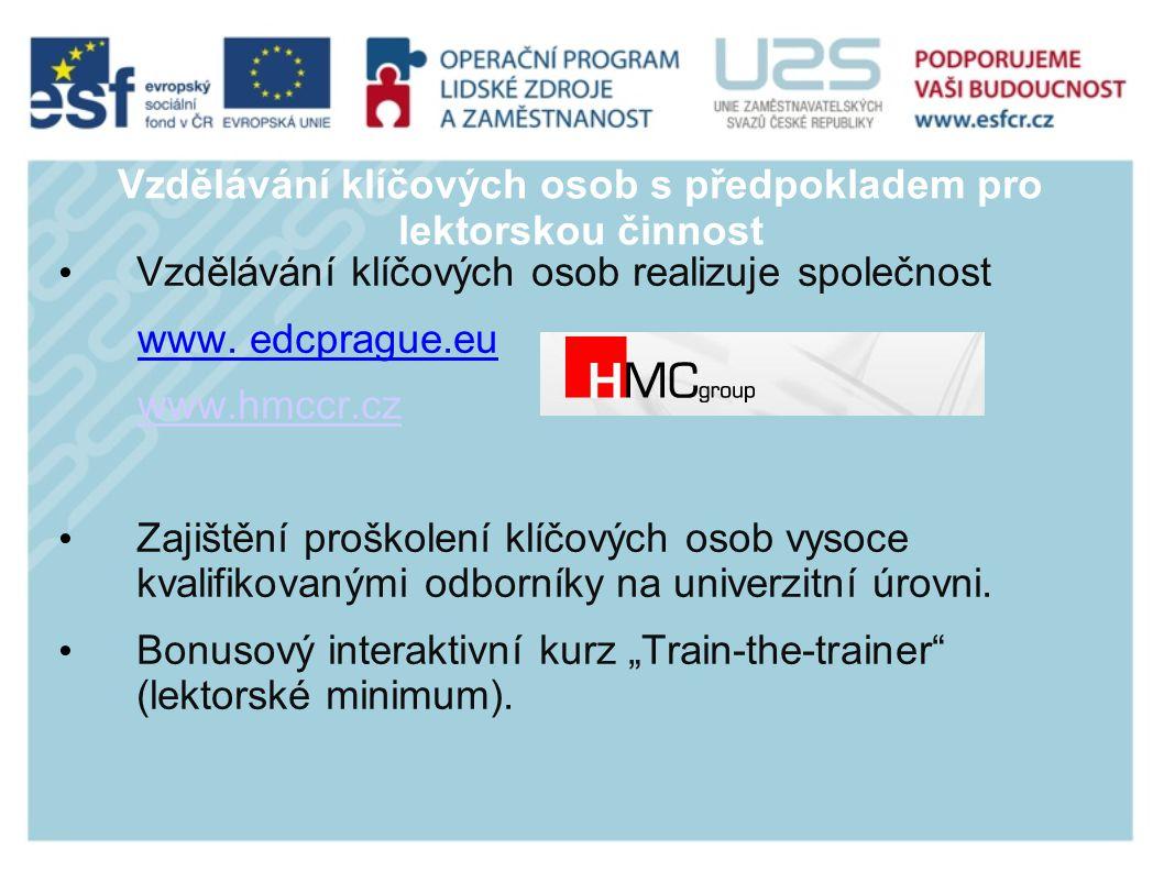 Vzdělávání klíčových osob s předpokladem pro lektorskou činnost Vzdělávání klíčových osob realizuje společnost www.