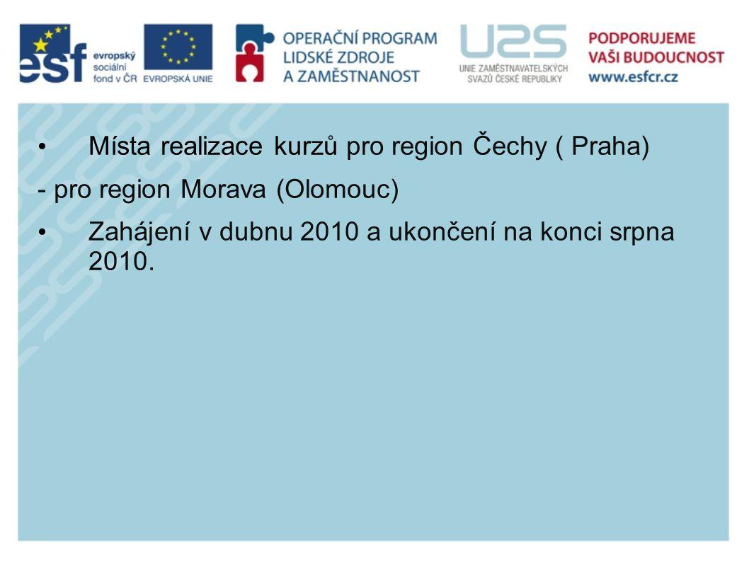 Místa realizace kurzů pro region Čechy ( Praha) - pro region Morava (Olomouc) Zahájení v dubnu 2010 a ukončení na konci srpna 2010.