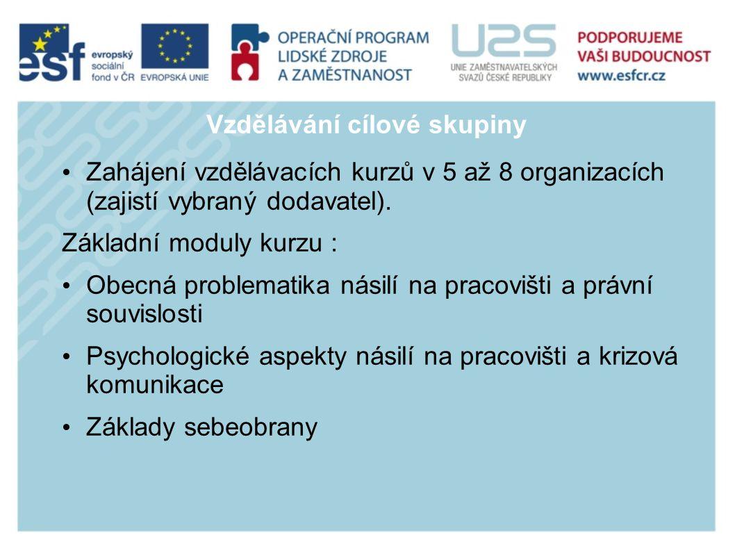 Vzdělávání cílové skupiny Zahájení vzdělávacích kurzů v 5 až 8 organizacích (zajistí vybraný dodavatel).