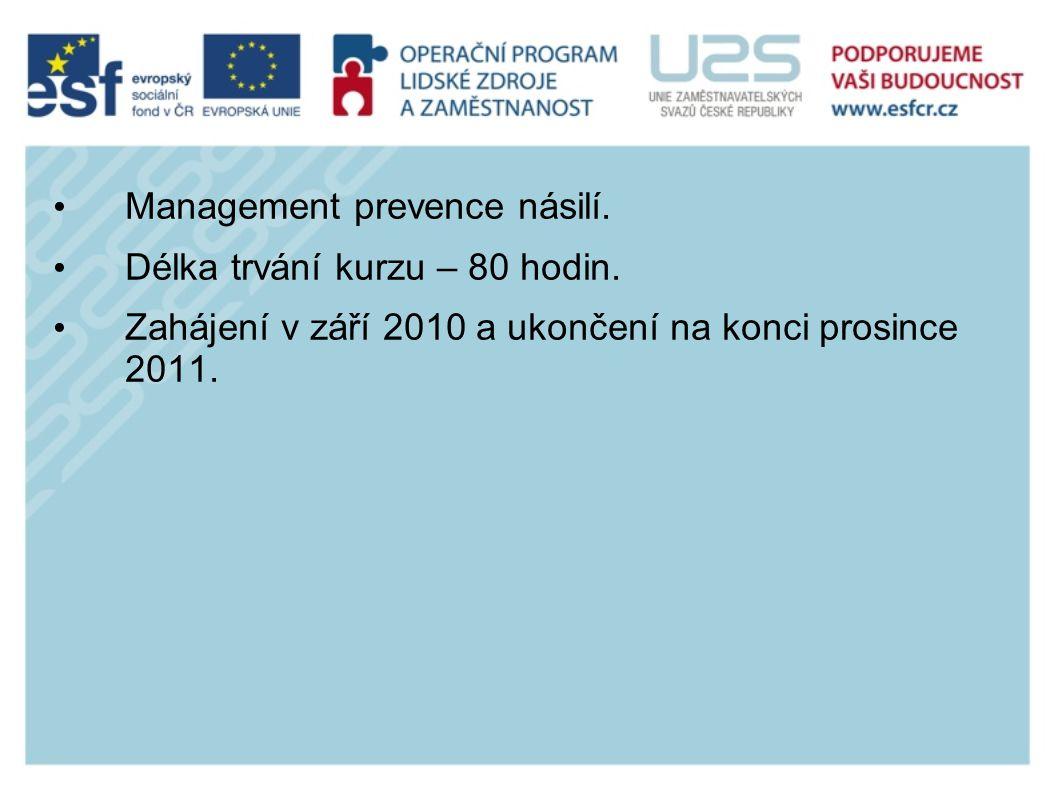 Management prevence násilí. Délka trvání kurzu – 80 hodin.