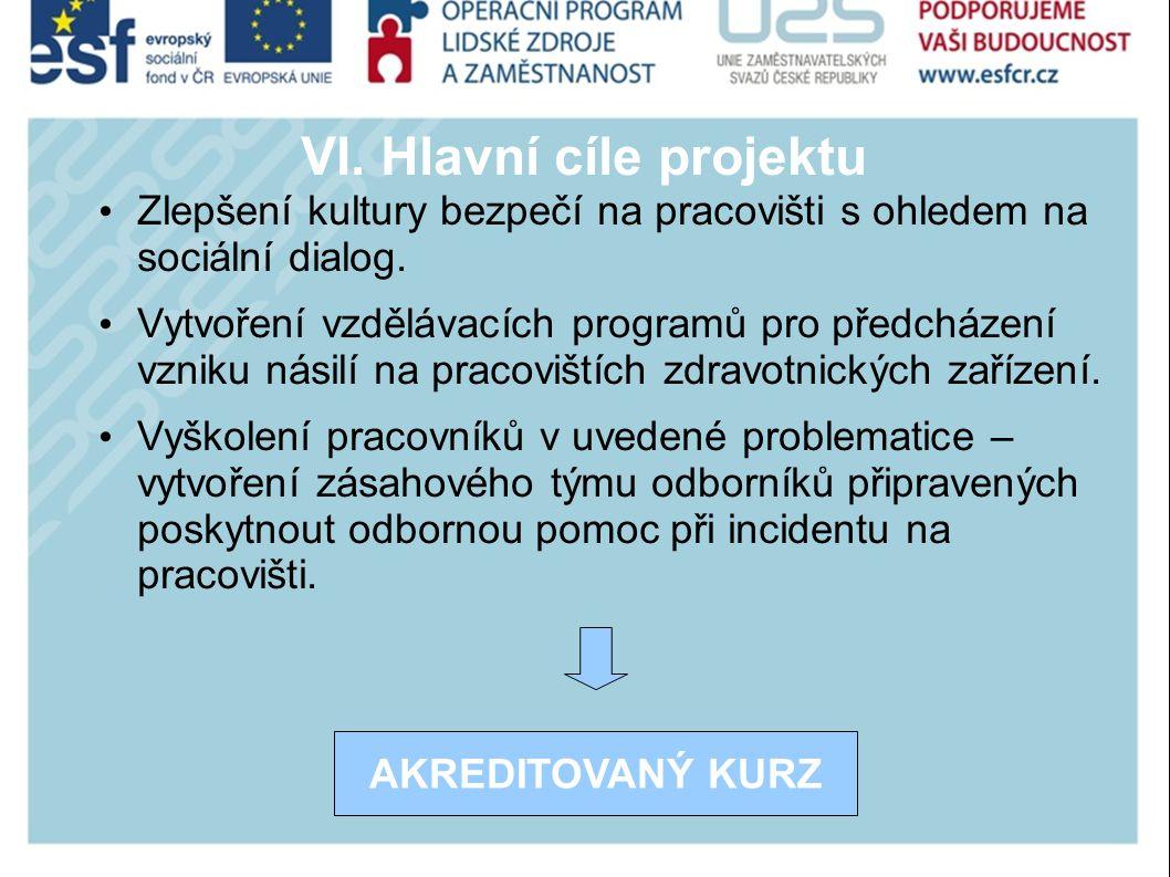 VI. Hlavní cíle projektu Zlepšení kultury bezpečí na pracovišti s ohledem na sociální dialog.