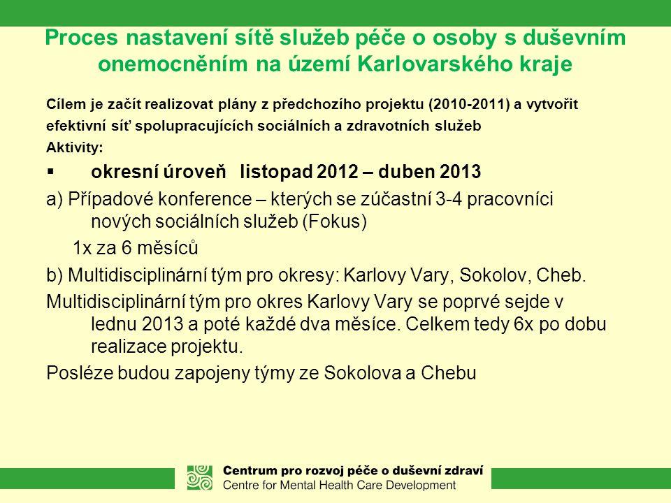 Proces nastavení sítě služeb péče o osoby s duševním onemocněním na území Karlovarského kraje Cílem je začít realizovat plány z předchozího projektu (2010-2011) a vytvořit efektivní síť spolupracujících sociálních a zdravotních služeb Aktivity:  okresní úroveň listopad 2012 – duben 2013 a) Případové konference – kterých se zúčastní 3-4 pracovníci nových sociálních služeb (Fokus) 1x za 6 měsíců b) Multidisciplinární tým pro okresy: Karlovy Vary, Sokolov, Cheb.