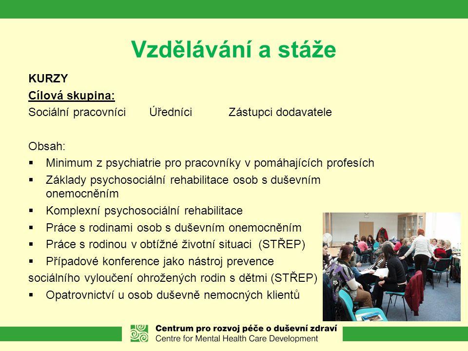 Vzdělávání a stáže KURZY Cílová skupina: Sociální pracovníci Úředníci Zástupci dodavatele Obsah:  Minimum z psychiatrie pro pracovníky v pomáhajících profesích  Základy psychosociální rehabilitace osob s duševním onemocněním  Komplexní psychosociální rehabilitace  Práce s rodinami osob s duševním onemocněním  Práce s rodinou v obtížné životní situaci (STŘEP)  Případové konference jako nástroj prevence sociálního vyloučení ohrožených rodin s dětmi (STŘEP)  Opatrovnictví u osob duševně nemocných klientů