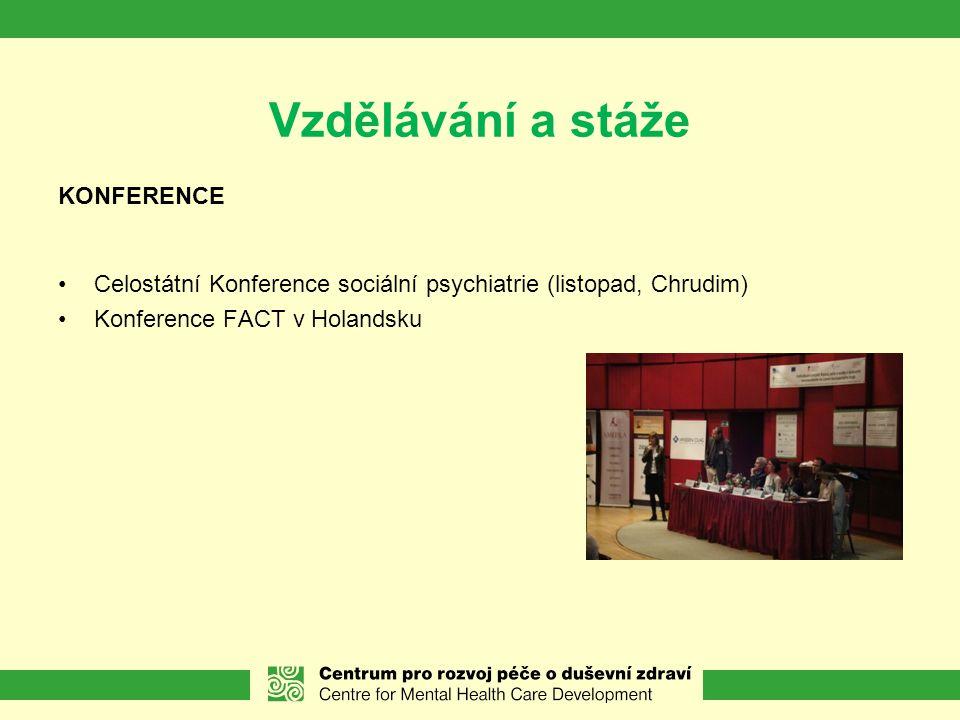 Vzdělávání a stáže KONFERENCE Celostátní Konference sociální psychiatrie (listopad, Chrudim) Konference FACT v Holandsku