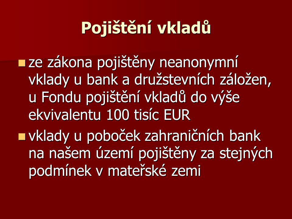 Pojištění vkladů ze zákona pojištěny neanonymní vklady u bank a družstevních záložen, u Fondu pojištění vkladů do výše ekvivalentu 100 tisíc EUR ze zá