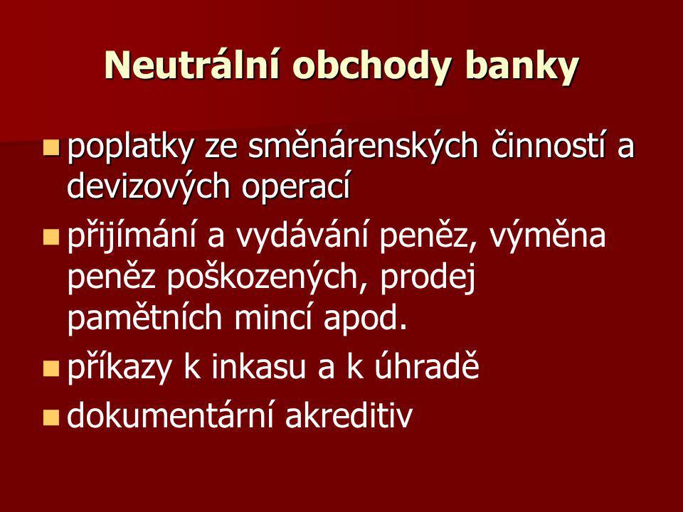 Neutrální obchody banky poplatky ze směnárenských činností a devizových operací poplatky ze směnárenských činností a devizových operací přijímání a vy