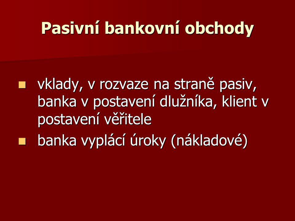 Pasivní bankovní obchody vklady, v rozvaze na straně pasiv, banka v postavení dlužníka, klient v postavení věřitele vklady, v rozvaze na straně pasiv,