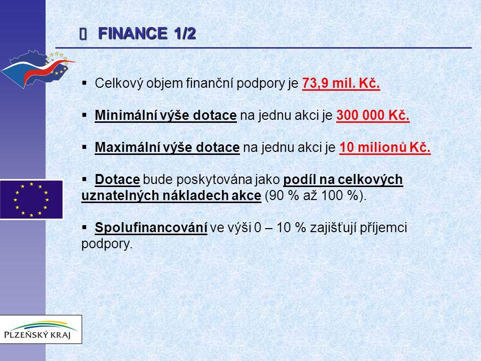  FINANCE 1/2  Celkový objem finanční podpory je 73,9 mil.