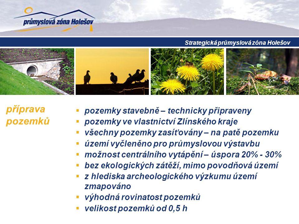 příprava pozemků  pozemky stavebně – technicky připraveny  pozemky ve vlastnictví Zlínského kraje  všechny pozemky zasíťovány – na patě pozemku  ú
