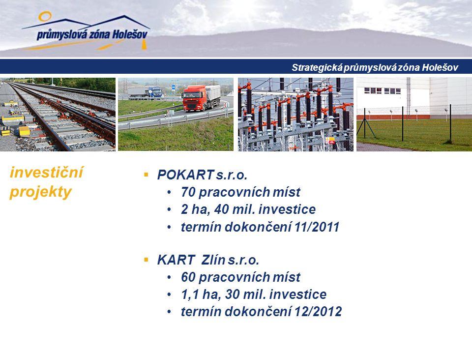 investiční projekty  POKART s.r.o. 70 pracovních míst 2 ha, 40 mil. investice termín dokončení 11/2011  KART Zlín s.r.o. 60 pracovních míst 1,1 ha,