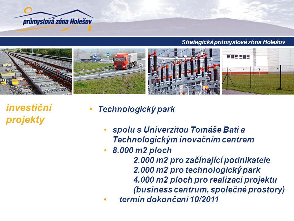 investiční projekty  Technologický park spolu s Univerzitou Tomáše Bati a Technologickým inovačním centrem 8.000 m2 ploch 2.000 m2 pro začínající pod