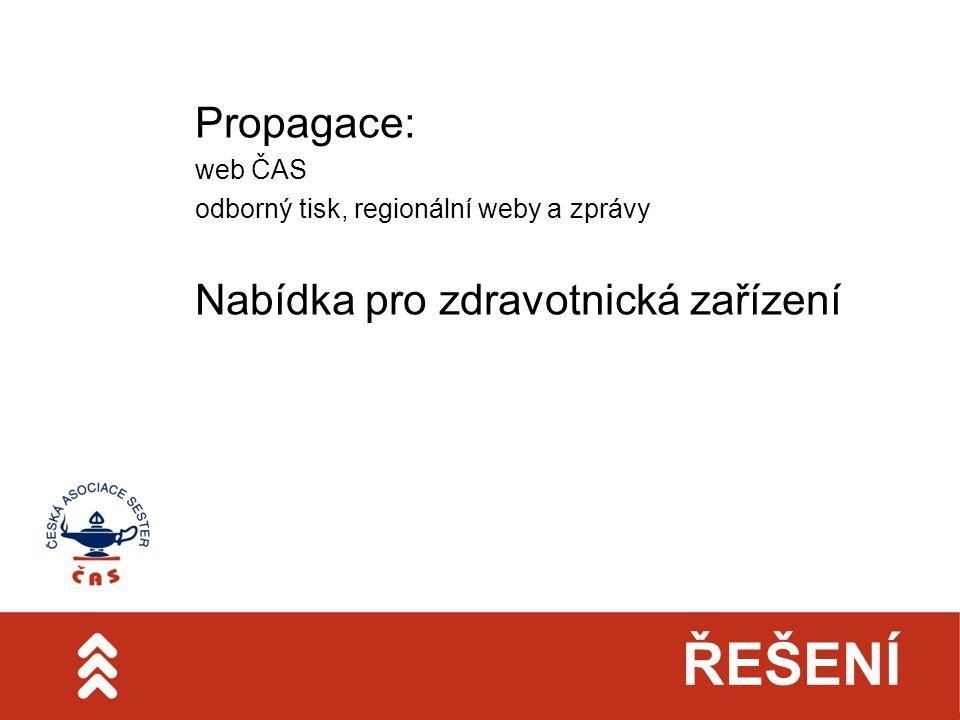 ŘEŠENÍ Propagace: web ČAS odborný tisk, regionální weby a zprávy Nabídka pro zdravotnická zařízení