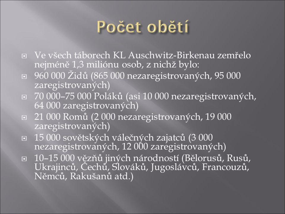  Ve všech táborech KL Auschwitz-Birkenau zemřelo nejméně 1,3 miliónu osob, z nichž bylo:  960 000 Židů (865 000 nezaregistrovaných, 95 000 zaregistr
