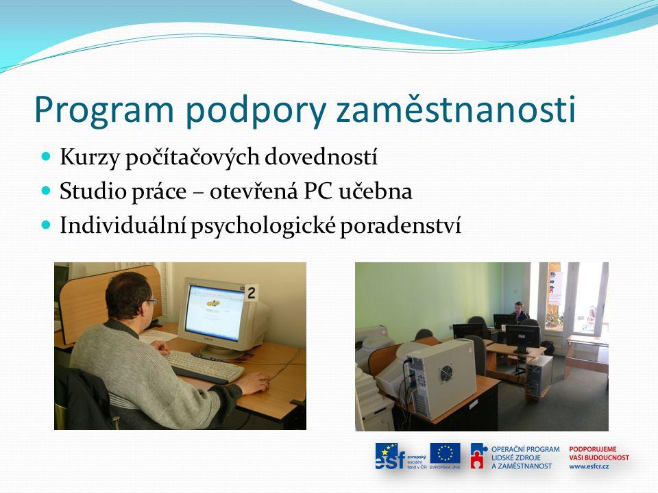 Program podpory zaměstnanosti Kurzy počítačových dovedností Studio práce – otevřená PC učebna Individuální psychologické poradenství