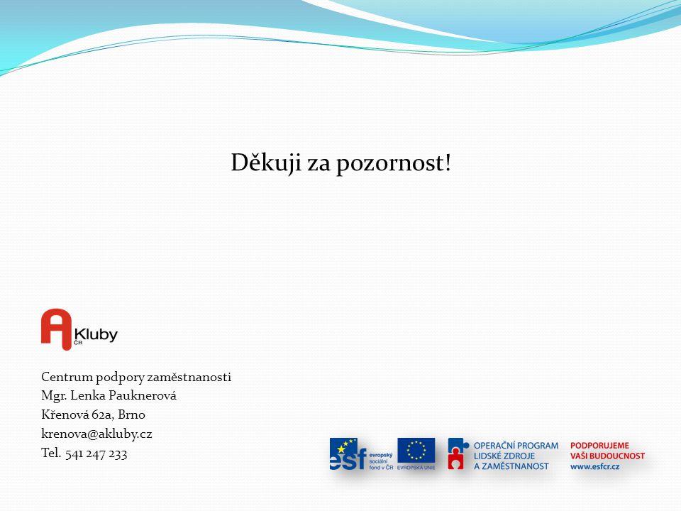 Děkuji za pozornost! Centrum podpory zaměstnanosti Mgr. Lenka Pauknerová Křenová 62a, Brno krenova@akluby.cz Tel. 541 247 233